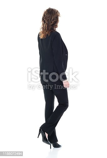 Businesswoman standing on white background, cutout, isolated,