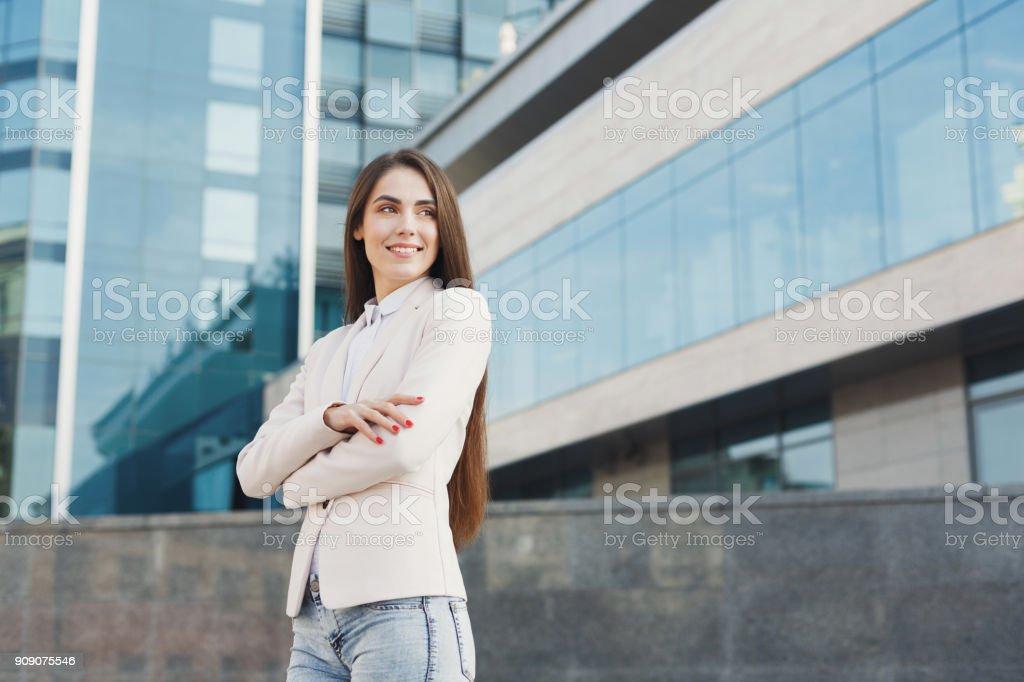 Caucasian businesswomanoutdoors in smart casual ware stock photo