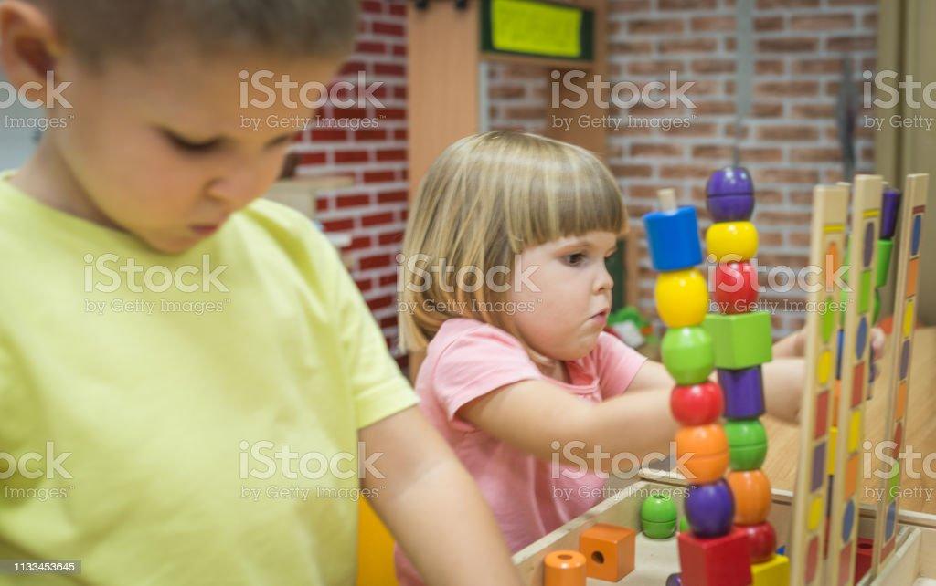 Caucasian children in predschool stock photo