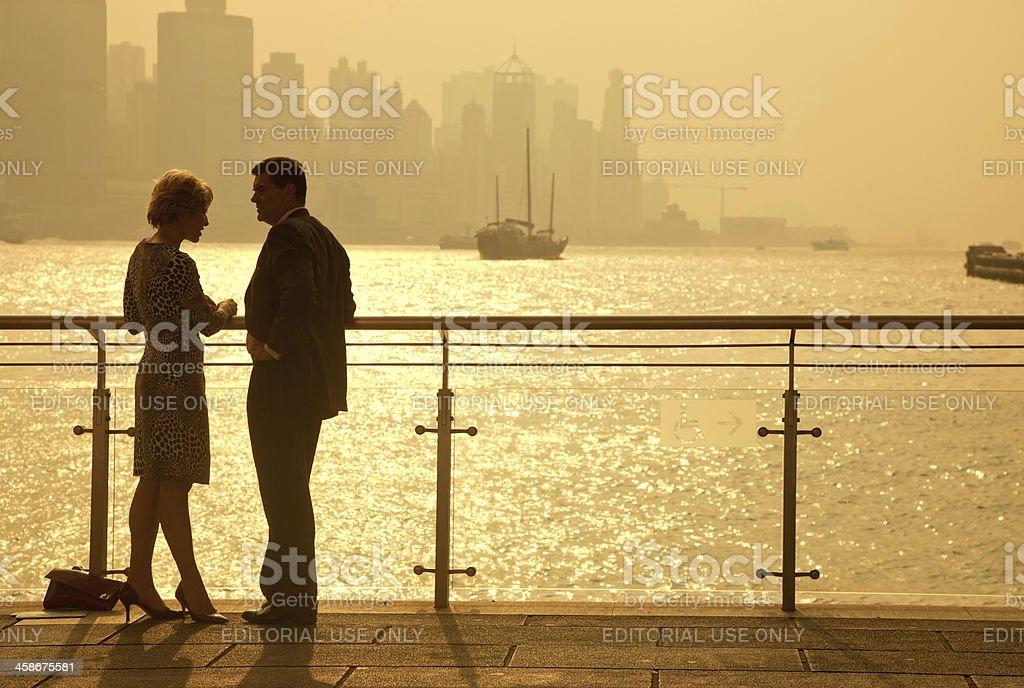 Caucasian Couple in Hong Kong royalty-free stock photo