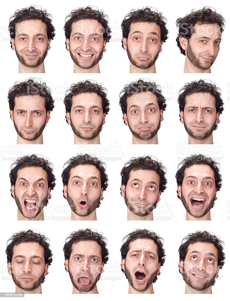 caucasian curly hair beard man expression collection isolated on white royalty-free stock photo