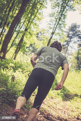 636248376 istock photo Caucasian elderly man running up in the forest 529683730