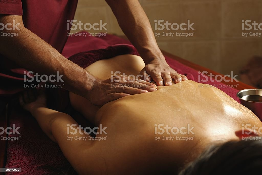 Caucasian Enjoying An Ayuverdic Massage stock photo