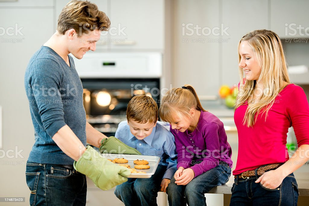 Caucasian Family in the Kitchen royalty-free stock photo