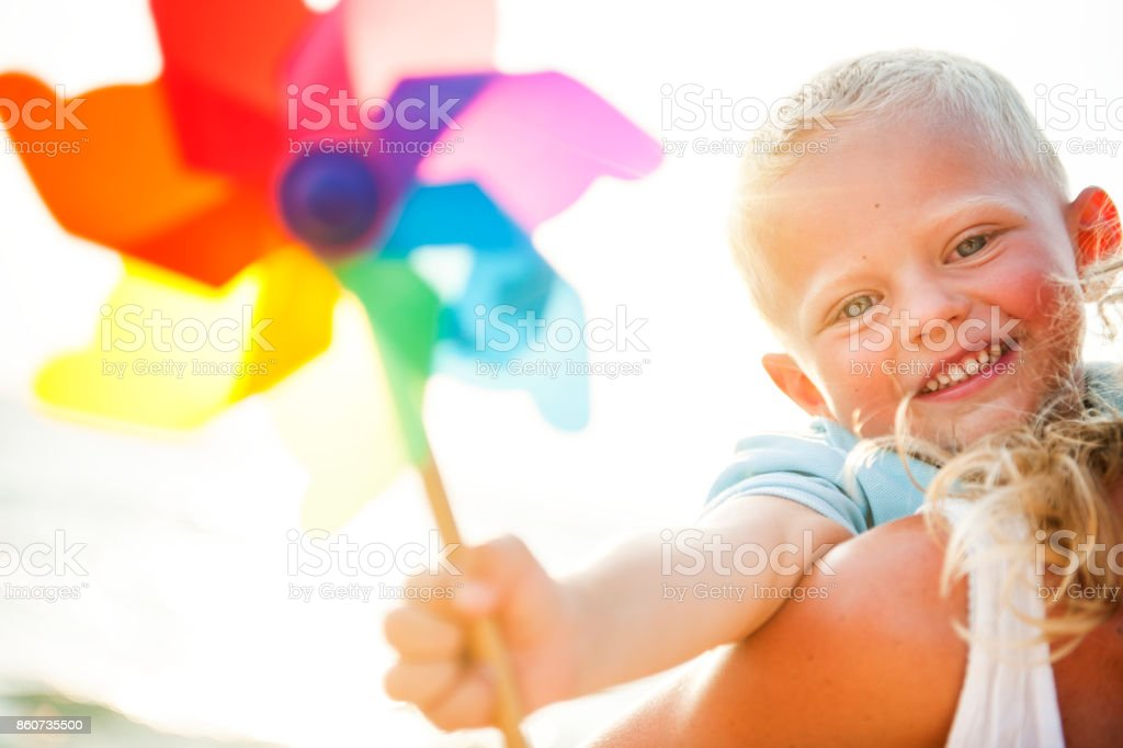 A Caucasian family is enjoying summer vacation stock photo