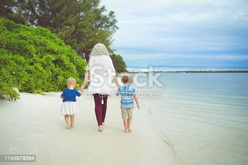 Caucasian family walking on the beach. Outdoors walking away from he camera