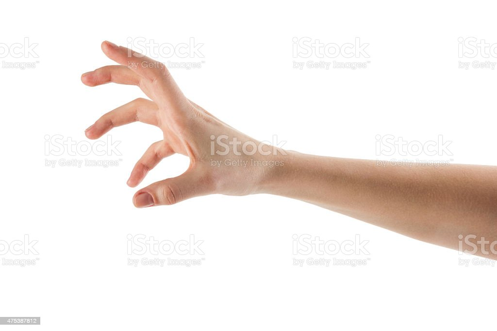 Caucasian female hand to grab objects, isolated on white stock photo