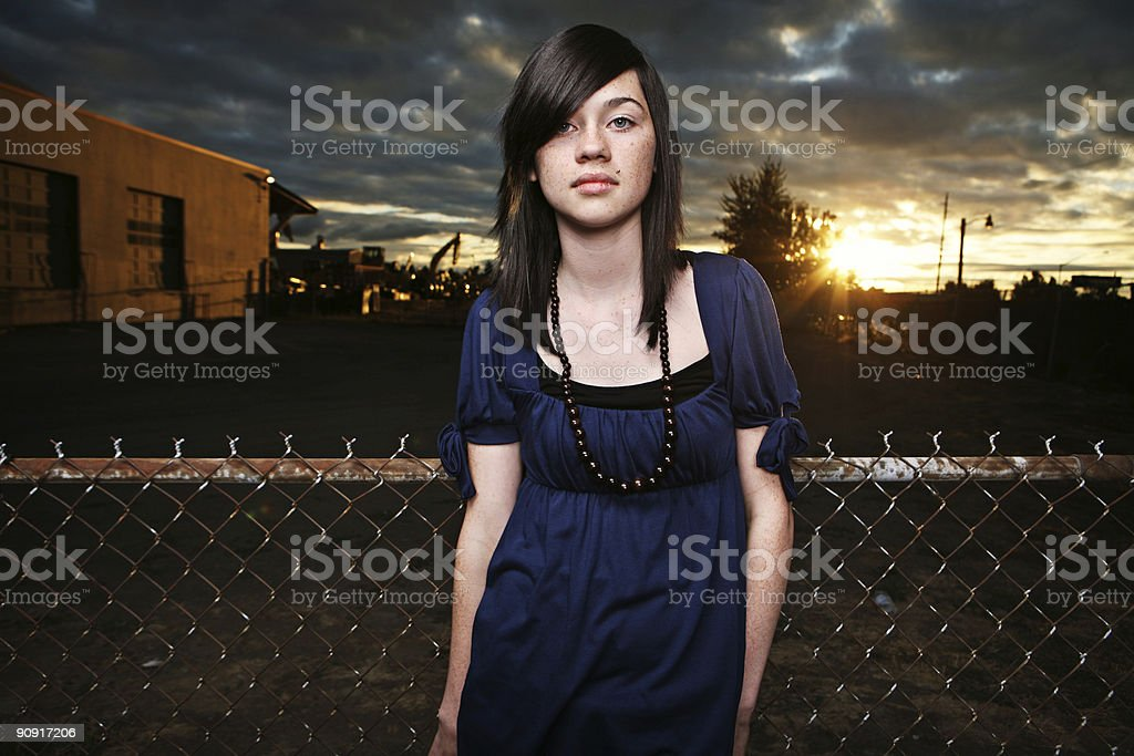 Caucasian Female Sunsets Cloudy Sky Portrait royalty-free stock photo