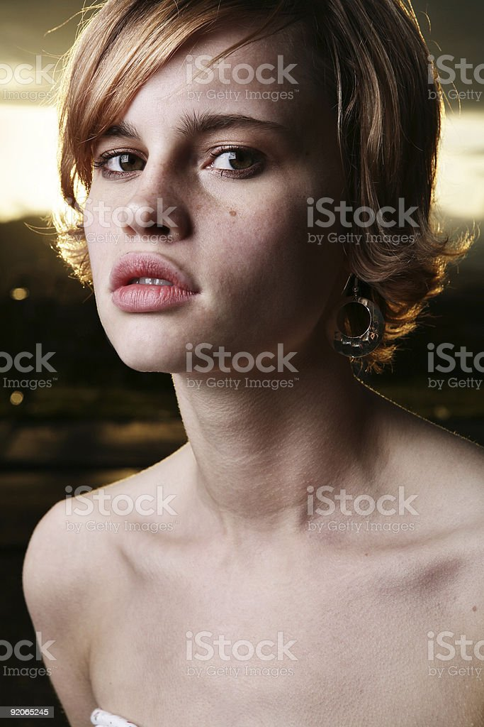 Caucasian Female with Sunset Portrait royalty-free stock photo