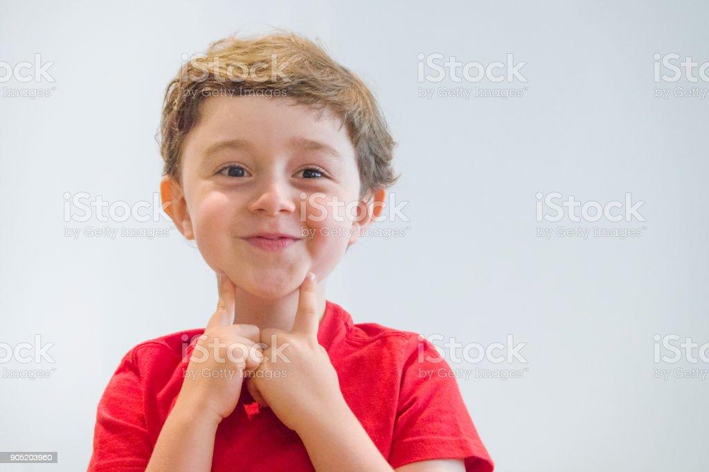 Caucasian five year old boy stock photo