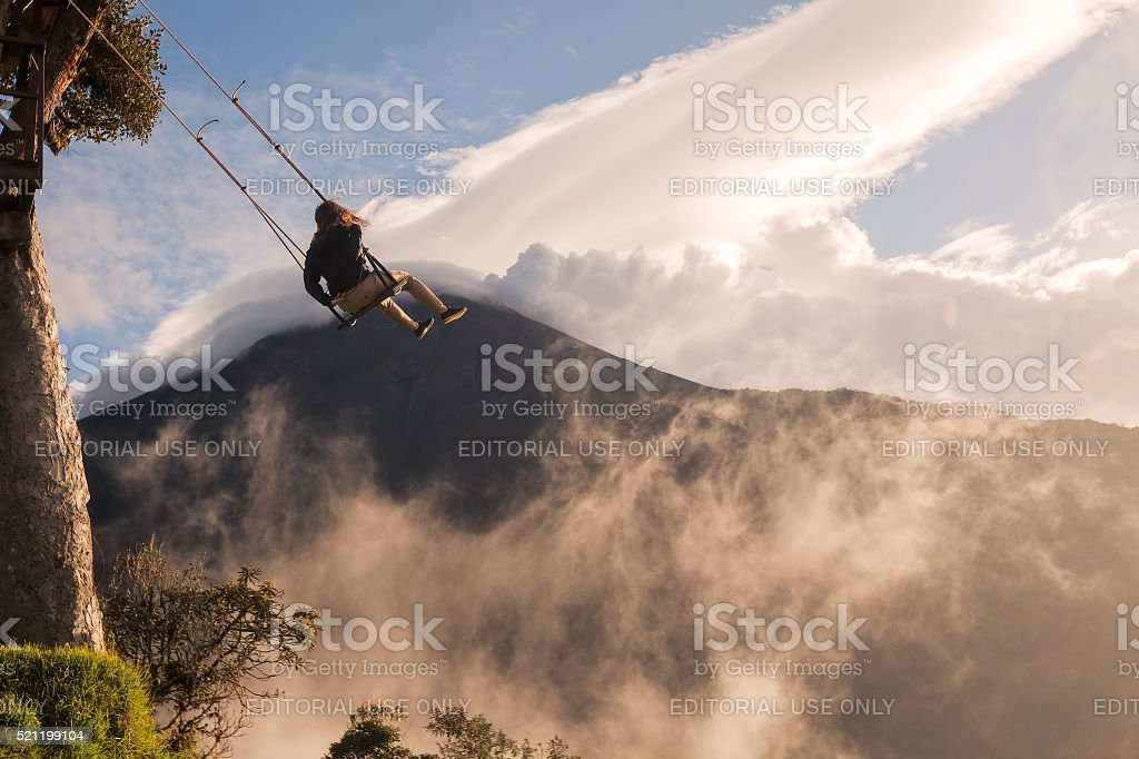 Caucasian Girl Taking A Ride On The Swing stock photo