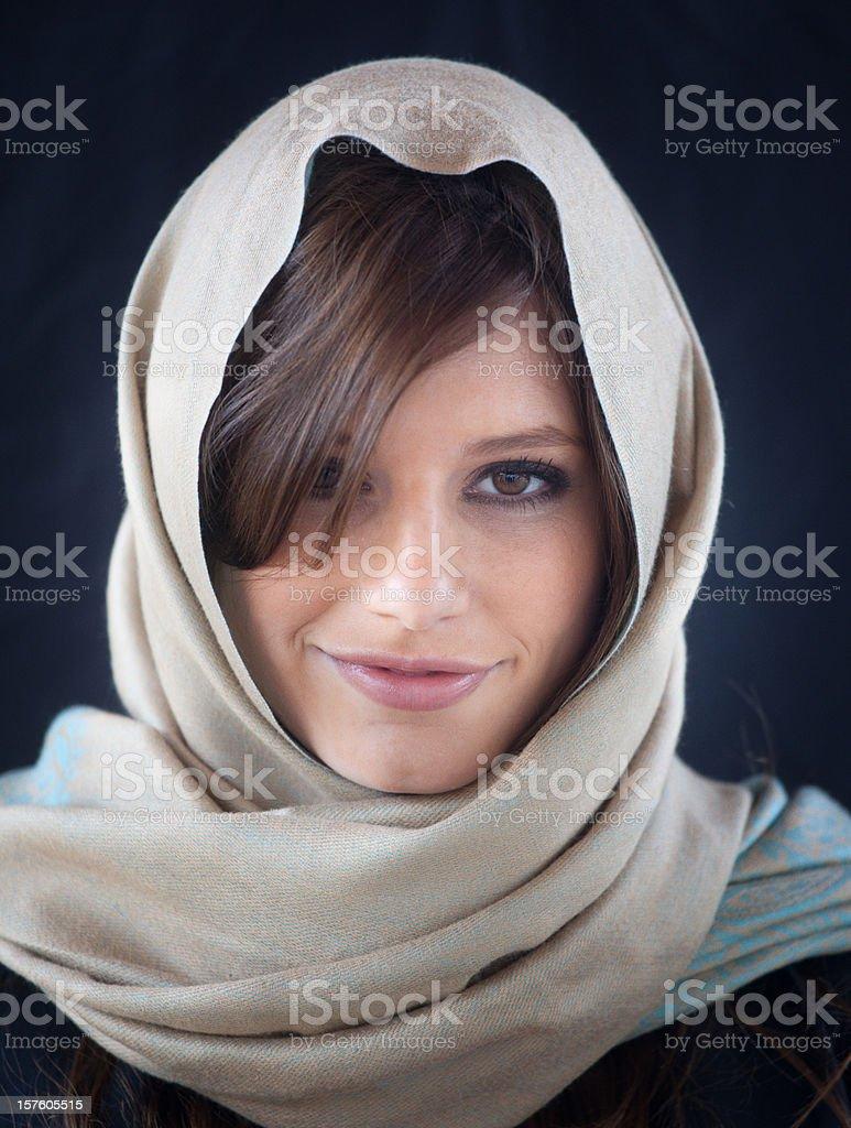 Caucasian girl using a headscarf stock photo
