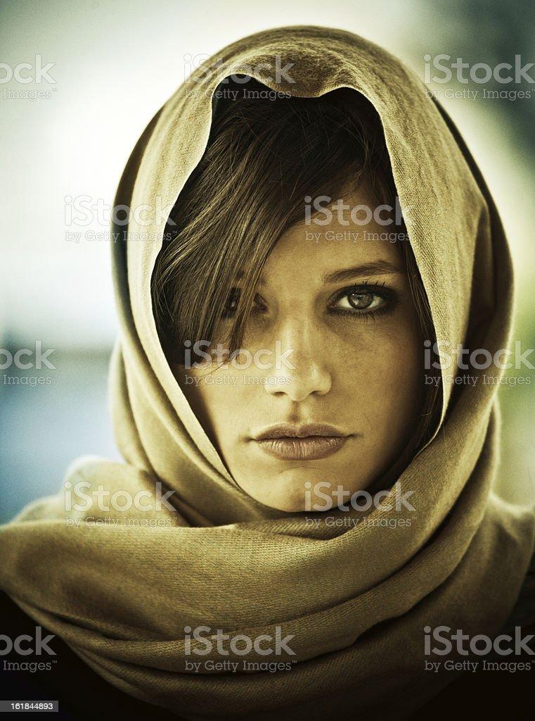 Caucasian girl using a headscarf royalty-free stock photo