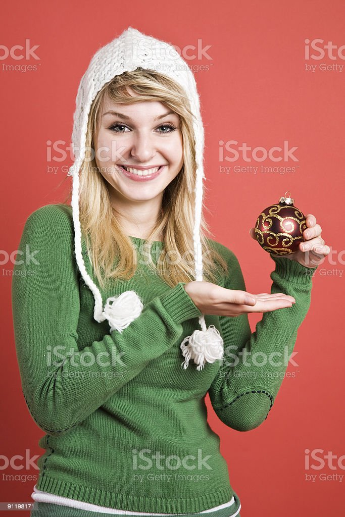 Caucasian girl with christmas ornament royalty-free stock photo