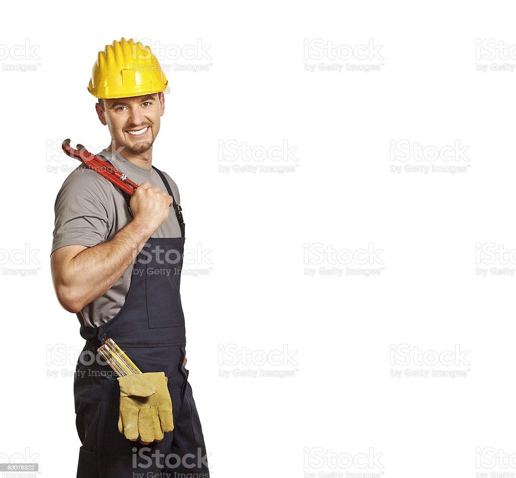 caucasian handyman isolated on white royalty-free stock photo