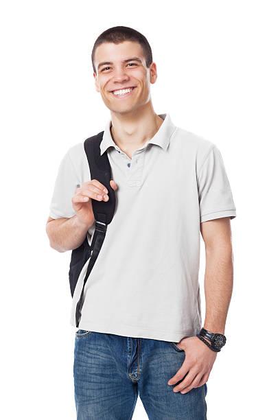 kaukasier männliche high school student mit rucksack - marko skrbic stock-fotos und bilder