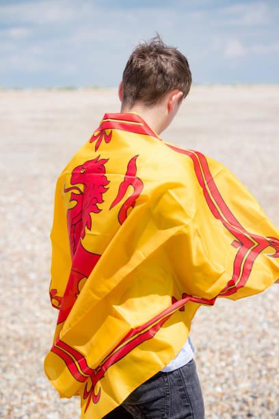 Kaukasischer Rüde an einem Strand mit einem Löwen-Rampanten der schottischen Flagge – Foto