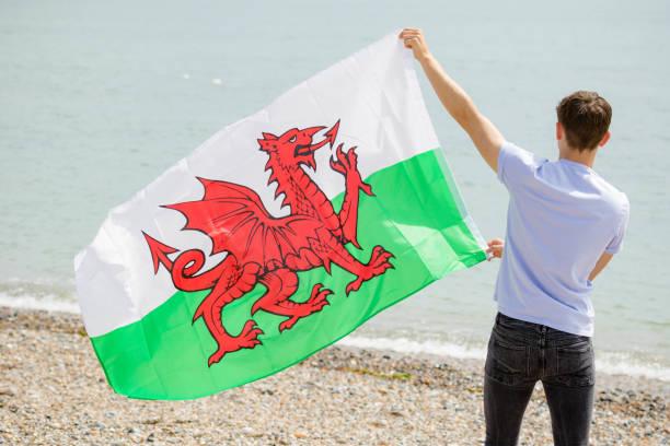 Kaukasischer Rüde an einem Strand mit walisischer Flagge – Foto