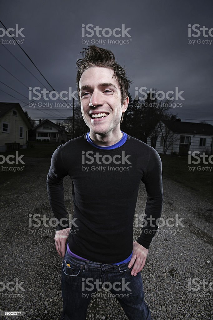 Caucasian Male Smiling Dark Sky Portrait royalty-free stock photo