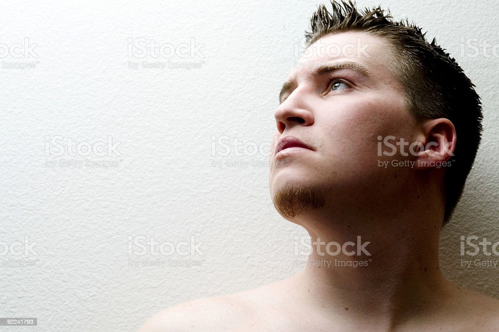 Caucasian Male -Thinking stock photo