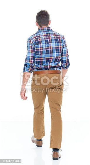 Rear view of aged 30-39 years old caucasian male walking wearing khaki pants