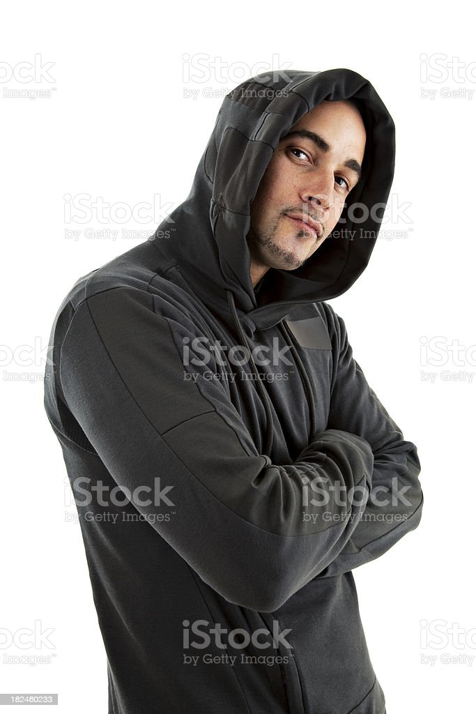 Caucasian male wearing a hooded shirt royalty-free stock photo