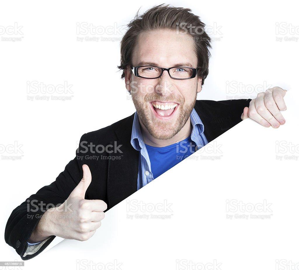 caucasian man at edge of poster royalty-free stock photo