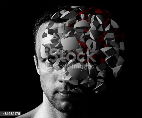 istock Caucasian man creative portrait with 3d explosion 481982476