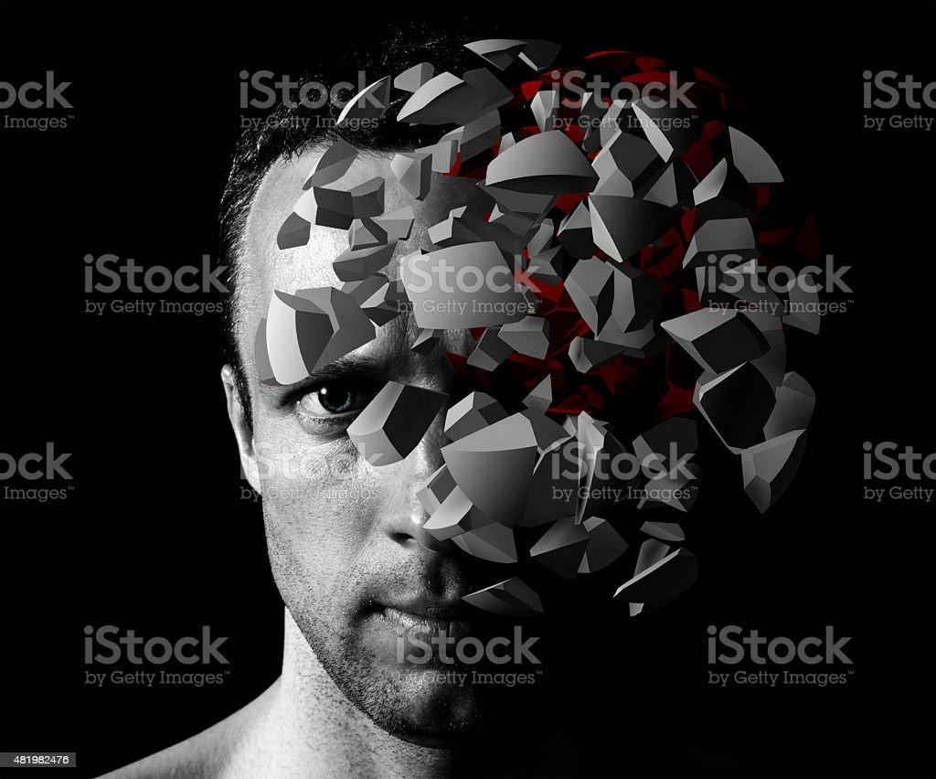 Caucasian man creative portrait with 3d explosion stock photo