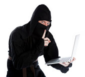 istock caucasian man disguised as a ninja isolated on white 482272523