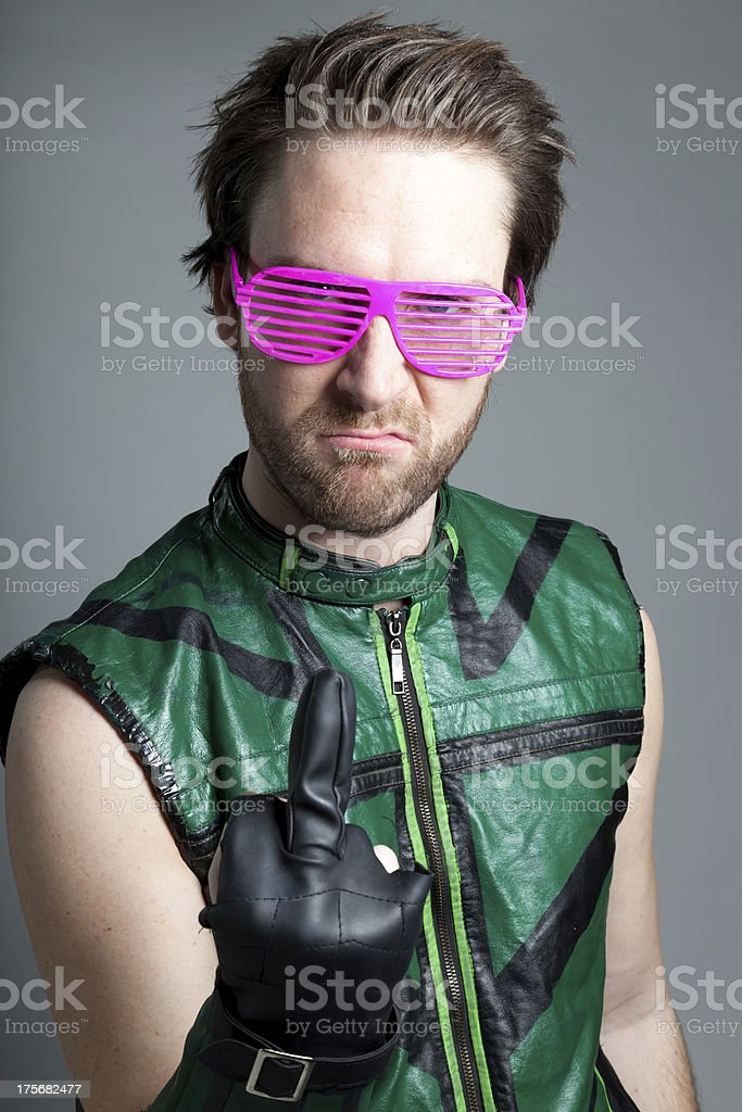 caucasian man disguised as super hero isolated on grey royalty-free stock photo