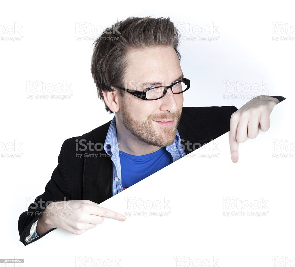 caucasian man disguised as superman edge of page royalty-free stock photo