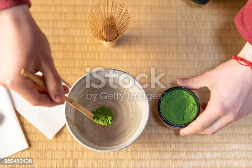 Caucasian man enjoy tea ceremony