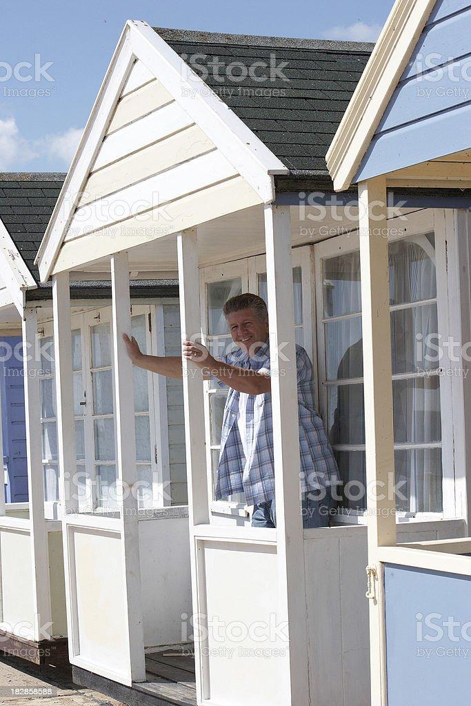 Caucasian man in beach hut royalty-free stock photo