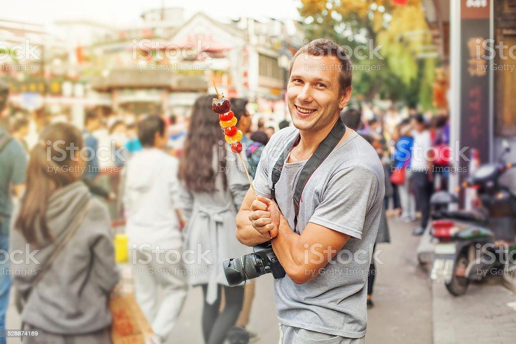 caucasian man in china stock photo