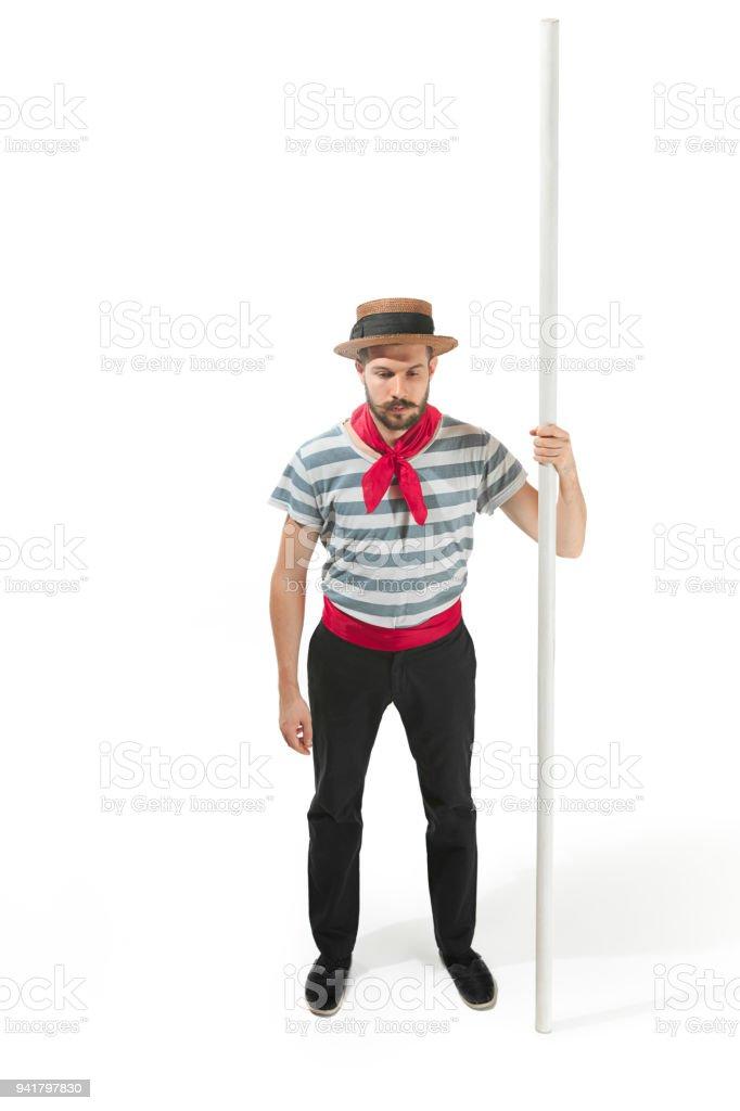 Hombre caucásico gondolero tradicional traje y sombrero foto de stock libre  de derechos 927423072ea