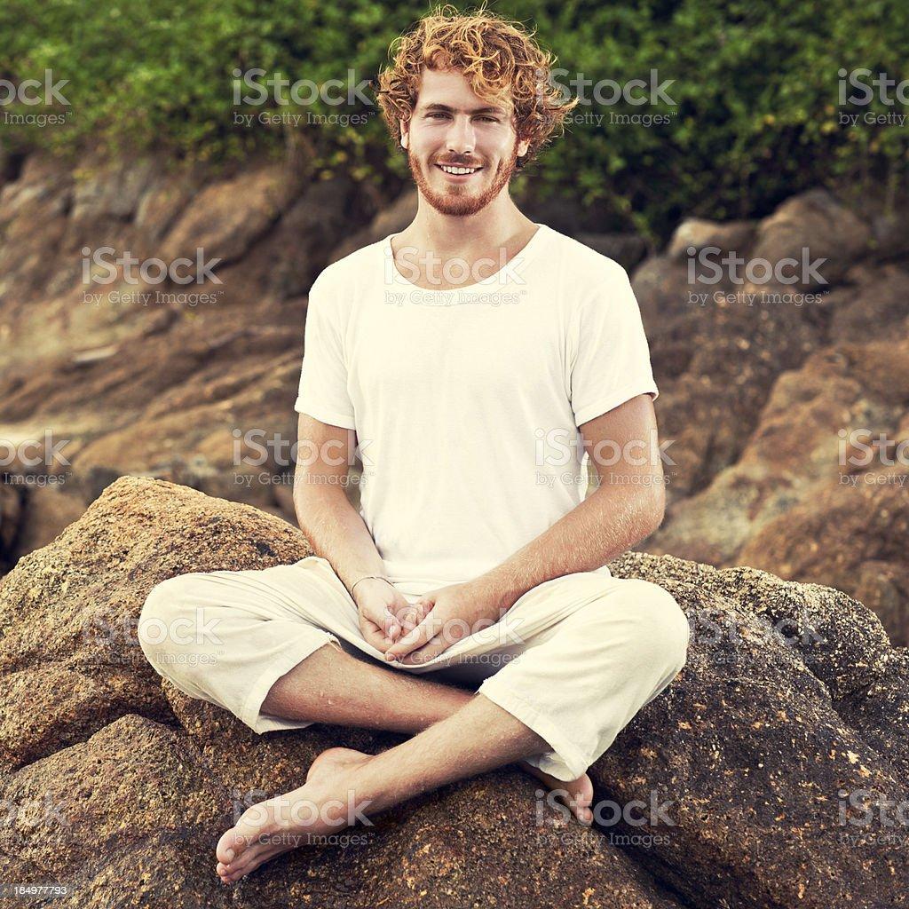 Caucasian Man Smiling Outdoors stock photo