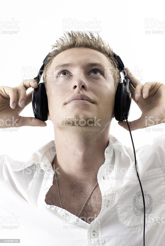 Caucasian man with headphones stock photo
