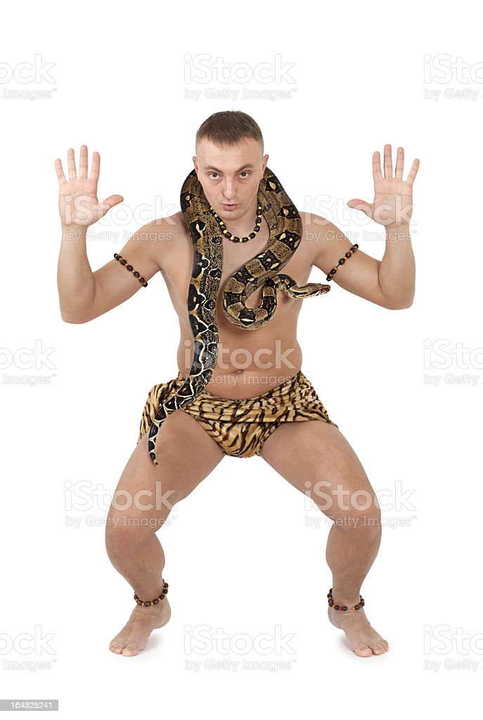 Caucasian Man with snake royalty-free stock photo