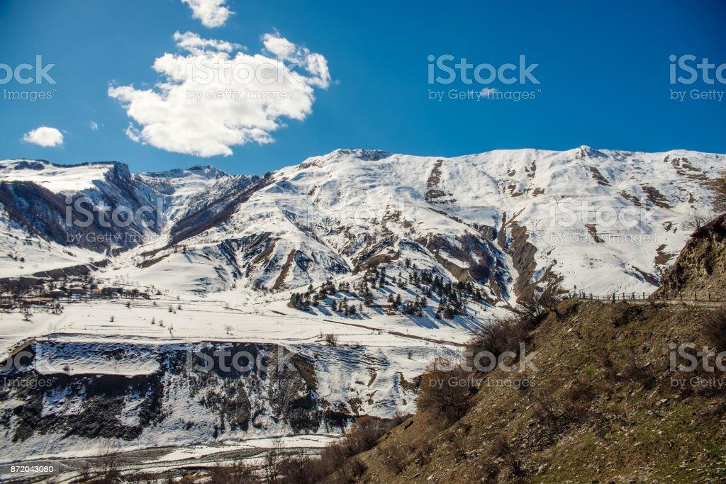 Caucasian mountains in Georgia stock photo