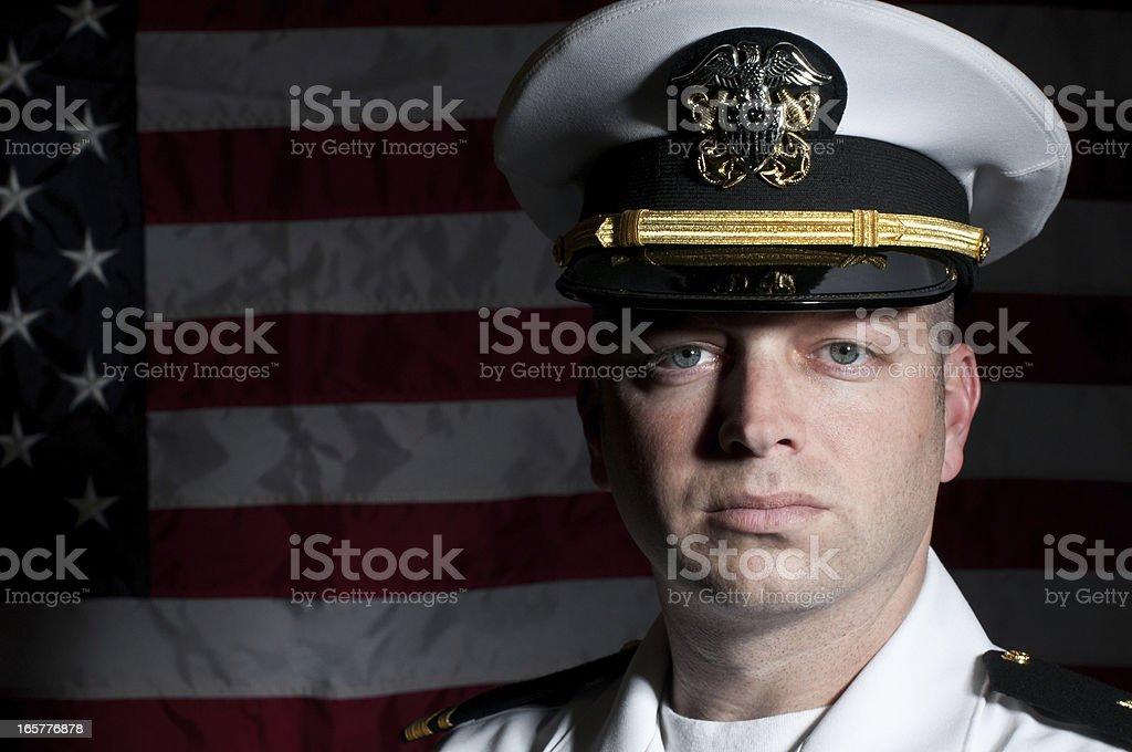 Caucasian Naval Officer In Dress Whites Uniform stock photo