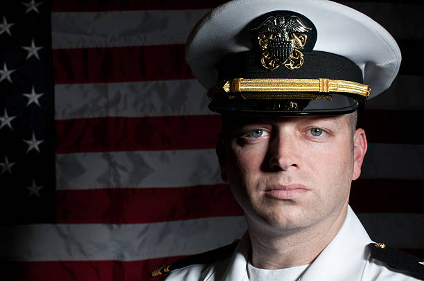 Caucasian Naval Officer In Dress Whites Uniform stock photo