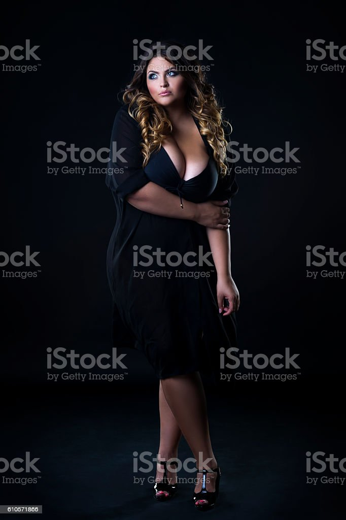 Caucasian plus size model in underwear, xxl woman stock photo