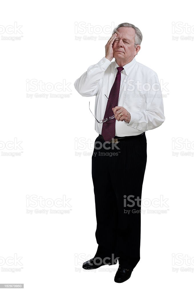 Caucasian Senior Businessman Holding Head Showing Stress or Headache royalty-free stock photo