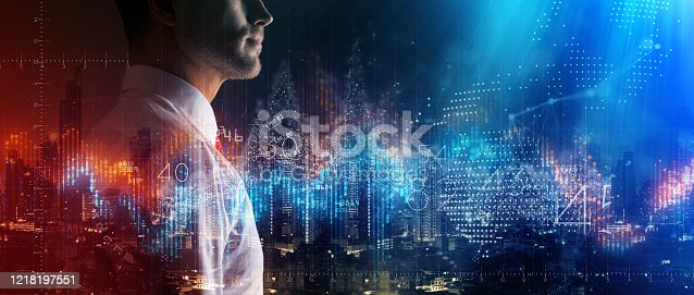 875503222 istock photo caucasian smart businessman white shirt fintech business technology virtual diagram with Ai big data and automation stock Market investor working new start up project. 1218197551