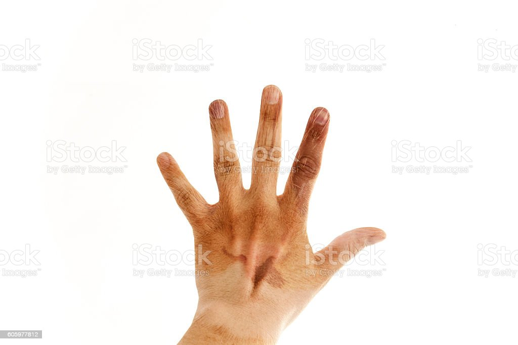 Male hand showing a hand sign with animal texture. Photo made indoor...