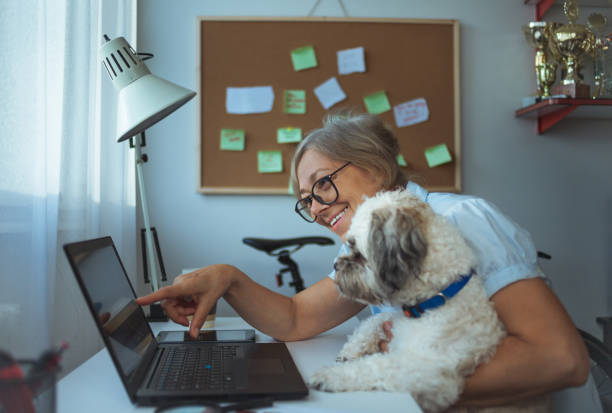 Caucasian woman and her dog working at home picture id1084883858?b=1&k=6&m=1084883858&s=612x612&w=0&h=pqvnmnr6nwrokuuxkhkbbotodevh8gadic22tpdwcey=
