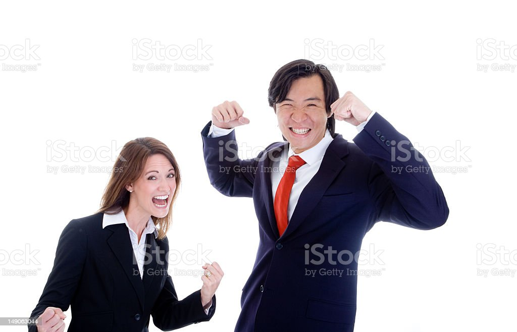 Caucasian Woman Asian Man in Suits Cheering royalty-free stock photo