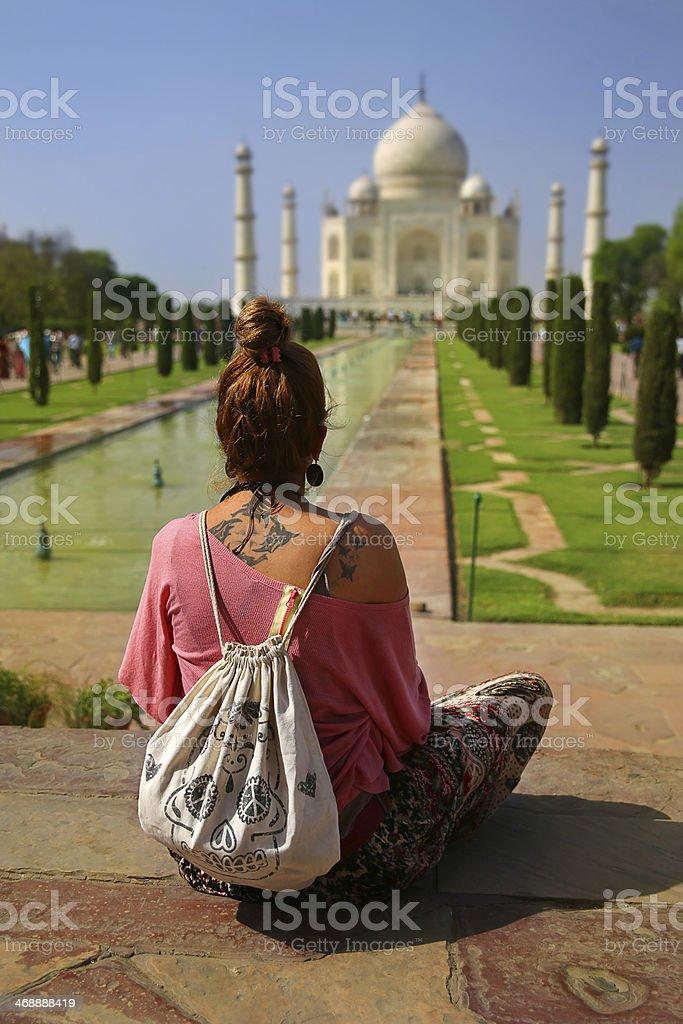 Caucasian woman at Taj Mahal stock photo