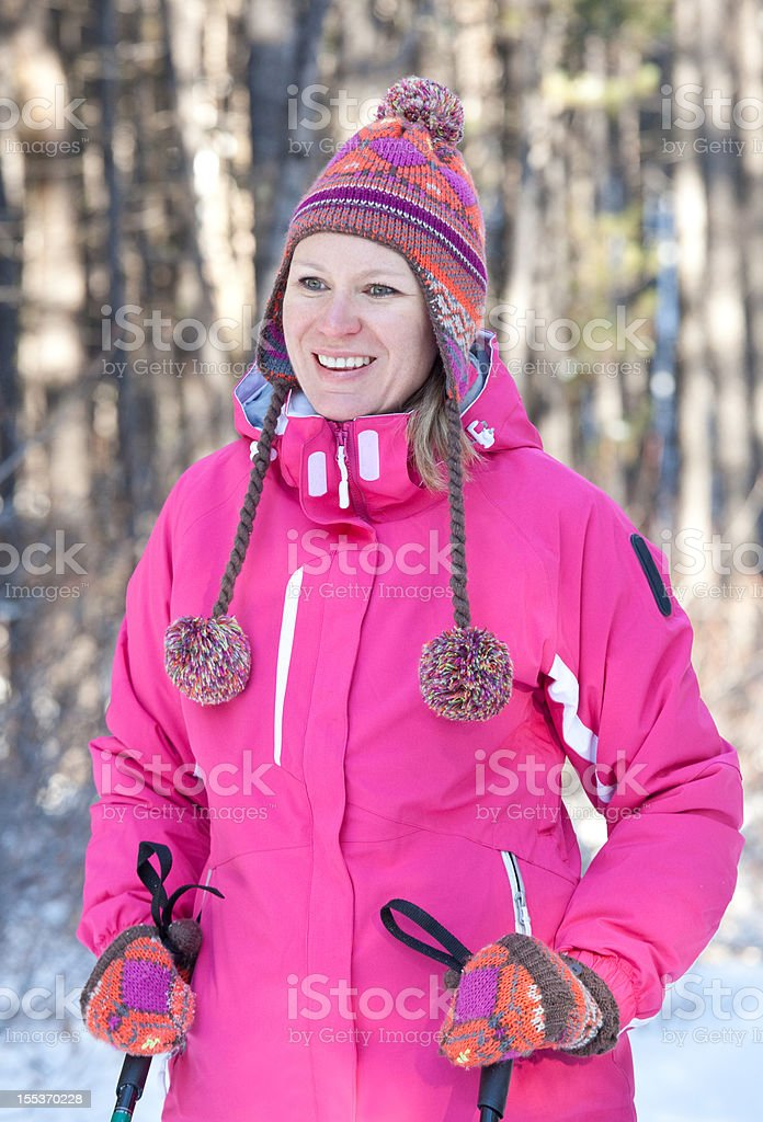 Caucasian Woman Cross Country Skiing royalty-free stock photo